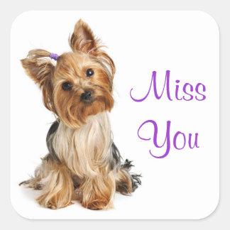 Pegatinas del perro de perrito de Srta. You Pegatina Cuadradas Personalizada