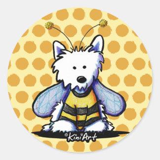 Pegatinas del perro de Westie de la abeja ocupada Pegatinas Redondas