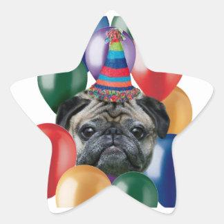 Pegatinas del perro del barro amasado del feliz pegatina en forma de estrella