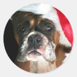 Pegatinas del perro del boxeador del navidad pegatina redonda