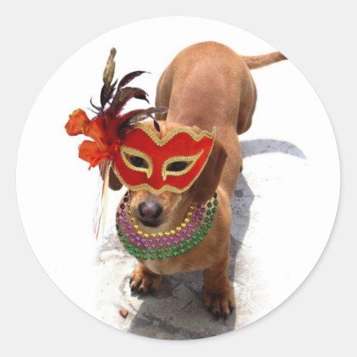 Pegatinas del perro del Dachshund del carnaval Pegatina Redonda