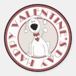 Pegatinas del perro del el día de San Valentín Etiquetas Redondas