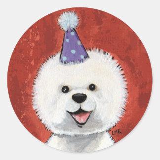 Pegatinas del perro del fiesta de Bichon Pegatina Redonda