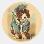 Pegatinas del perro del marinero etiqueta redonda