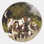 Pegatinas del perro:  Perros de caza - arte del Pegatina Redonda