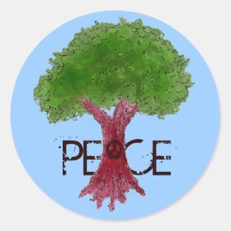 Pegatinas del personalizable del árbol de la paz pegatina redonda