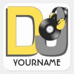 Pegatinas del personalizado de DJ Calcomanía Cuadradas