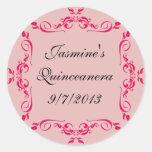 Pegatinas del personalizado de Quinceanera Etiquetas Redondas