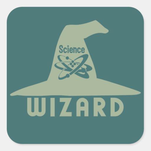 Pegatinas del personalizado del mago de la ciencia pegatina cuadrada