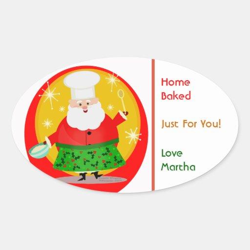 Pegatinas del personalizado del navidad de Santa Pegatina Ovalada