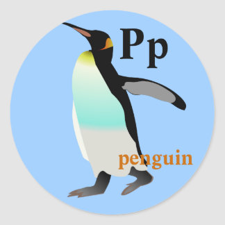 Pegatinas del pingüino de la letra P Pegatina Redonda