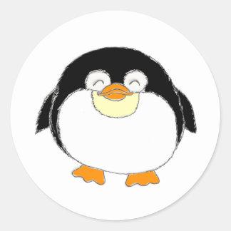 Pegatinas del pingüino pegatina redonda