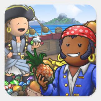 Pegatinas del pirata pegatina cuadrada