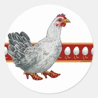 Pegatinas del pollo y del huevo pegatina redonda
