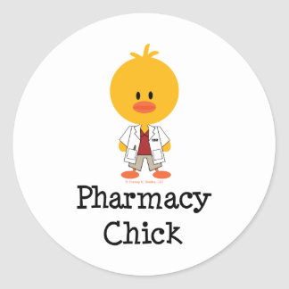 Pegatinas del polluelo de la farmacia pegatina redonda