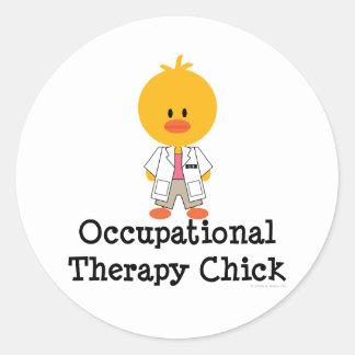 Pegatinas del polluelo de la terapia profesional pegatina redonda
