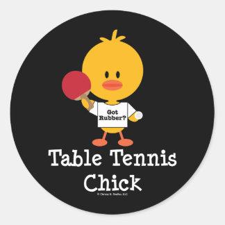 Pegatinas del polluelo de los tenis de mesa etiqueta redonda