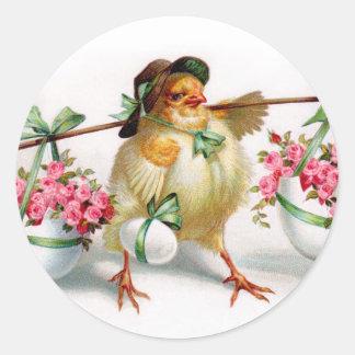 Pegatinas del polluelo de Pascua Etiqueta Redonda