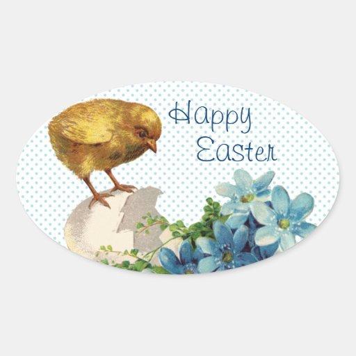 Pegatinas del polluelo de Pascua del vintage Pegatinas Oval Personalizadas
