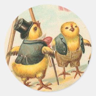 Pegatinas del polluelo de Pascua del vintage Pegatinas Redondas