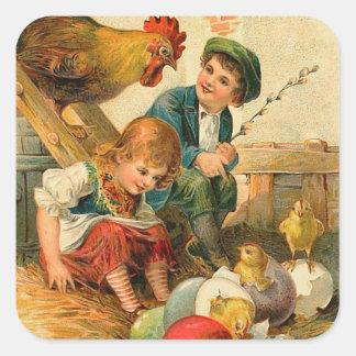 Pegatinas del polluelo de Pascua del vintage Pegatina Cuadrada