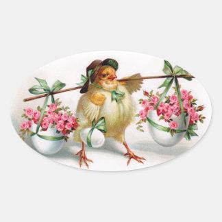 Pegatinas del polluelo de Pascua del vintage Pegatina Ovalada