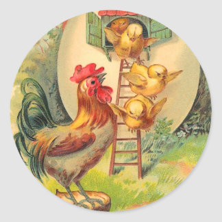 Pegatinas del polluelo de Pascua del vintage Pegatina Redonda