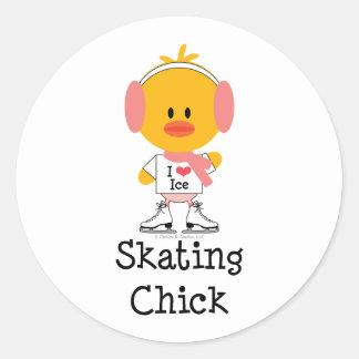 Pegatinas del polluelo del patinaje de hielo etiquetas redondas