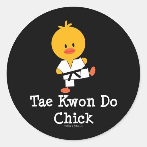 Pegatinas del polluelo del Taekwondo Etiqueta Redonda