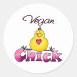 Pegatinas del polluelo del vegano etiquetas redondas