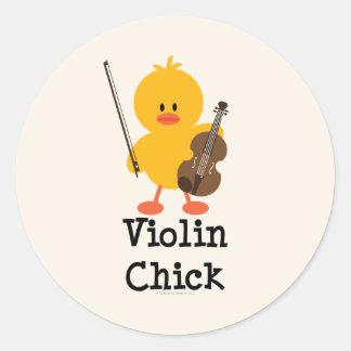Pegatinas del polluelo del violín pegatina redonda
