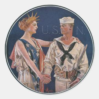 Pegatinas del poster de la guerra del vintage - pegatina redonda