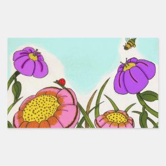 Pegatinas del prado de la flor - sistema de 20 rectangular pegatinas