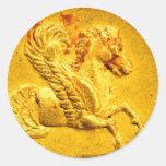 Pegatinas del premio de la moneda de oro de Pegaso