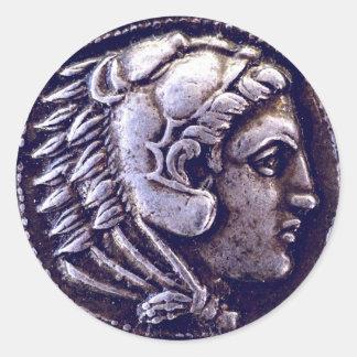 Pegatinas del premio de la moneda de plata de Hera Pegatina Redonda