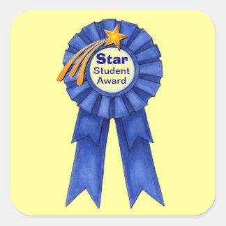 Pegatinas del premio del estudiante de la estrella pegatina cuadrada