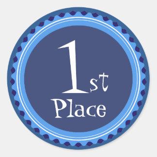 Pegatinas del premio del lugar del azul del etiquetas redondas