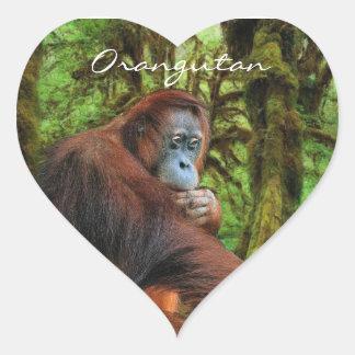 Pegatinas del primate del orangután y mono de la pegatina en forma de corazón