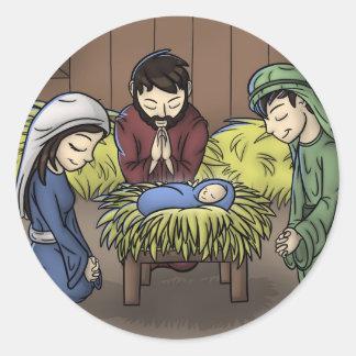 "Pegatinas ""del primer navidad"" pegatina redonda"