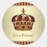 Pegatinas del príncipe fiesta de bienvenida al pegatina redonda