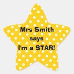 Pegatinas del profesor de Personalizable - soy una Pegatinas Forma De Estrella Personalizadas