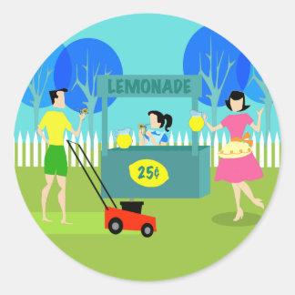 Pegatinas del puesto de limonadas de los niños pegatina redonda
