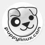 pegatinas del punto com del linux del perrito pegatinas redondas