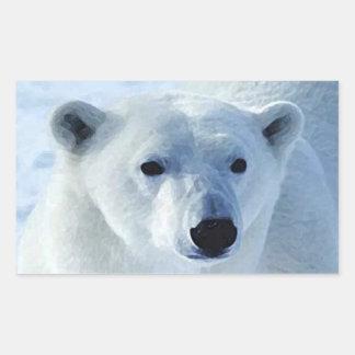 Pegatinas del rectángulo del oso polar pegatina rectangular