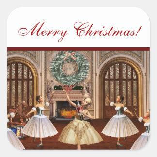 Pegatinas del regalo de las Felices Navidad del Pegatina Cuadrada