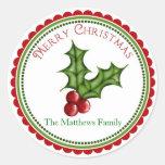 Pegatinas del regalo del acebo del navidad etiqueta redonda