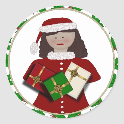 Pegatinas del regalo del chica del navidad pegatinas redondas