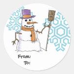 Pegatinas del regalo del muñeco de nieve