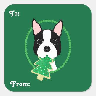 Pegatinas del regalo del navidad de Boston Terrier Calcomanías Cuadradas Personalizadas