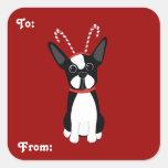 Pegatinas del regalo del navidad de Boston Terrier Calcomania Cuadrada Personalizada